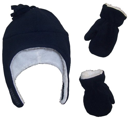 N'Ice Caps Boys Sherpa Lined Micro Fleece Pilot Hat and Mitten Set