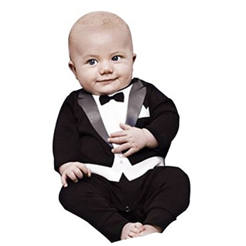Baby Boy All-in-one Tuxedo Suit Wedding Formal Party Romper Outfit (Size:80 for 7-12months, Black)