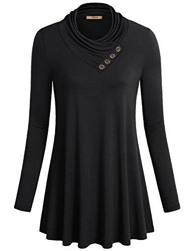 Womens Long Sleeve Cowl Neck Tunic Top