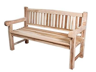 Ambientehome SSV Massive 3-Sitzer Teakholz Bank Teakbank 150 cm breit Stabil 3er Holzbank inkl. Sitzkissen von Ambientehome bei Gartenmöbel von Du und Dein Garten