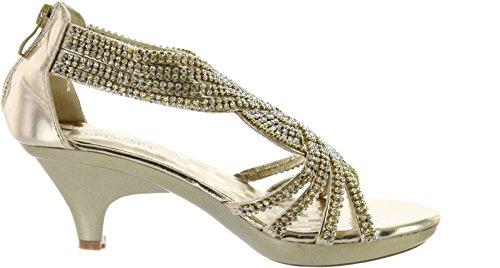 JJF Shoes Angel37 Gold Strappy Rhinestone Dress Sandal Low Heel Shoes-9
