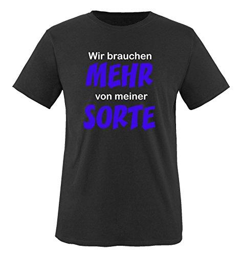 Wir brauchen MEHR von meiner SORTE - Kinder T-Shirt - Schwarz / Weiss-Royalblau Gr. 122-128