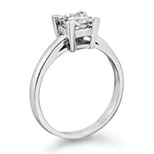 Diamond Engagement Ring in 18K Gold / White Certified, Princess, 0.59 Carat, F Color, SI1 Clarity