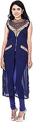Touch Patiala Women's Georgette Regular Fit Kurta (Blue, X-Large)