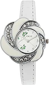 DICE Flora 6604 Flower Shaped Designer Wrist watch for women. Fitted with beautiful White Dial, Mettalic Case and matching White color leather strap.