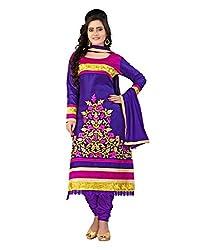 Lookslady Cotton Purple Women Clothing Semi Stitched Salwar Kameez Suit