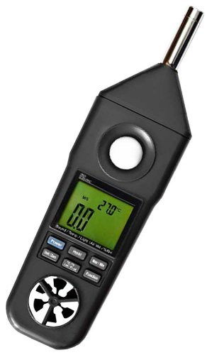 Sper Scientific 850069 Environmental Quality Meter with  Anemometer, Hygrometer, Thermometer, Light, Sound Meter, 10