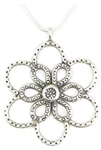 AM3622 - Unique Handcrafted Thai Hill Tribe Silver Flower Pendant with 925 sterling silver snake chain
