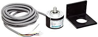 Shimpo RE2B-600C Aluminum Rotary Pulse Generator, 4.75-30VDC, 5000RPM Max Speed, 600PPR Graduation