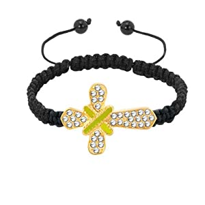 Pugster Clear White Crystal Green Strings On Delicate Cross Black String Adjustable Bracelet
