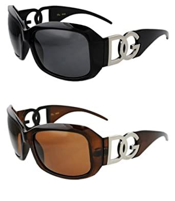 DG Eyewear Designer Sunglasses Brown, Black frame