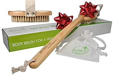 100% Natural Dry Body Brush for Dry Brushing Skin with Long Detachable Handle and Boar Bristles - Exfoliate, Reduce Cellulite, Improve Circulation & Drain Lymph - Great GIFT - FREE Bag & How-To e-book