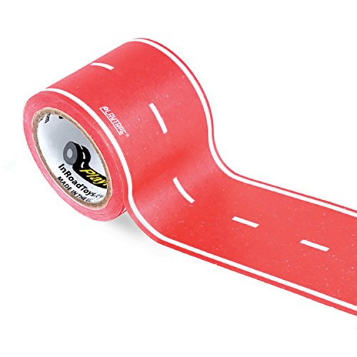 PlayTape Classic Road, Red Road - Instantly Create your Own Roads Anytime, Anywhere - For All Kids Who Love Cars & Trains - Perfect for Birthday Gifts & Endless Fun (Red Road 30'x2