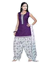 Ritu Creation Women's New Cotton Stitched Patyala Suit With Top Pintex And Printed Dupatta&Patyala(Purple)