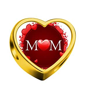 N Alphabet In Heart ... Alphabet Mom Words Red Heart Golden Heart Photo European charm bead