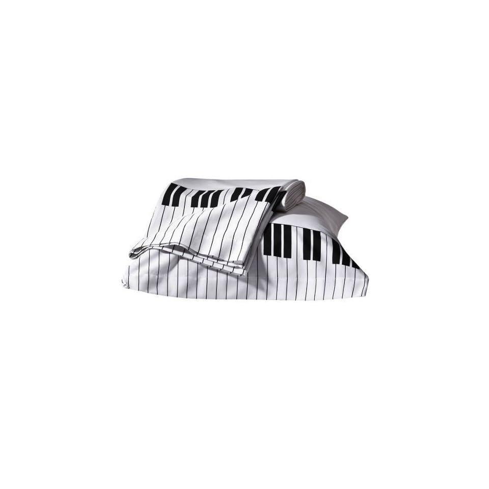 Glee Piano & Treble Clef Music Themed Twin / Full Comforter Set (4 Piece Bedding)
