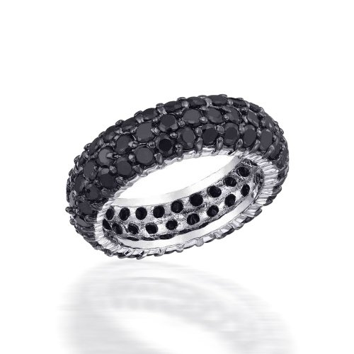 Bling Jewelry Sterling Silver Pave Black CZ Eternity Band Ring - Size 8