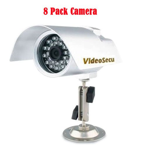 VideoSecu 8 Lot 420 TVL 6mm Lens Bullet IR CCTV Infrared Night Vision Security Video Cameras with Free 2x 4-Port Power Supply IRE20K8 WAB