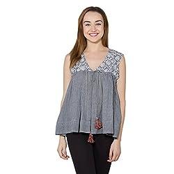vasstram Printed Grey Sleeveless Women's Top