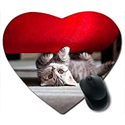 Awwsme Beautiful Small Cat Heart Mousepad