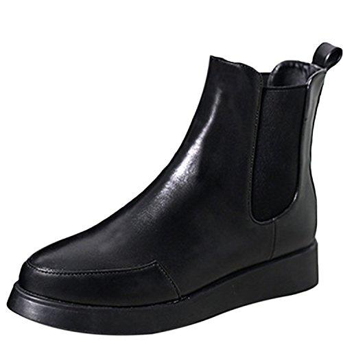 Oasap Femme Mode Côté Elastique Plate-forme Talons Plats Boots A Cheville