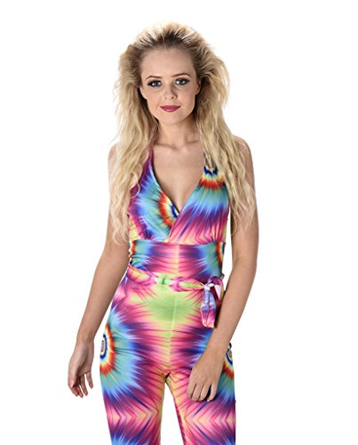 Tie Dye Flares Jumpsuit for Ladies 60s or 70s Fancy Dress, 3 Sizes from 8 to 18