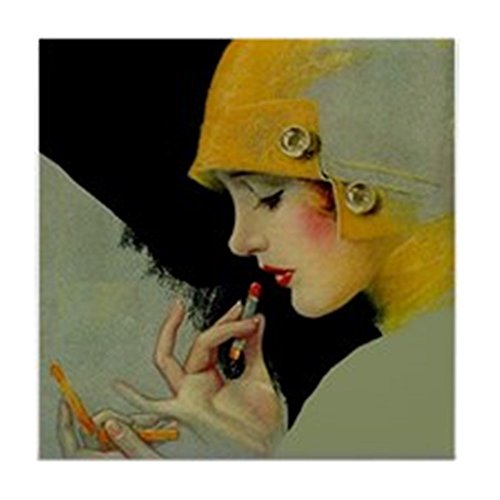 CafePress - Art Deco Flapper Putting On Lipstick - Tile Coaster, Drink Coaster, Small Trivet (Dishwasher Flapper compare prices)