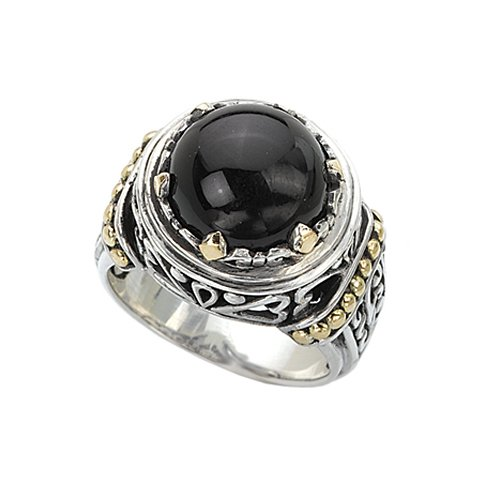 18K Yellow Gold and Sterling Silver with Black Onyx Ring, Size 8