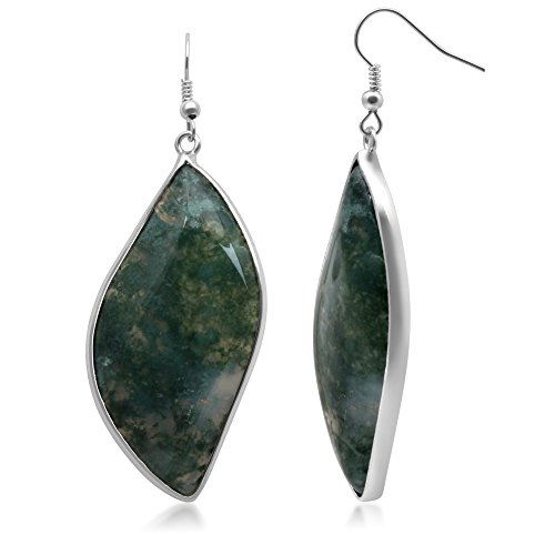 Jewelili Green Moss Agate Brass Earrings (Moss Agate Ring compare prices)