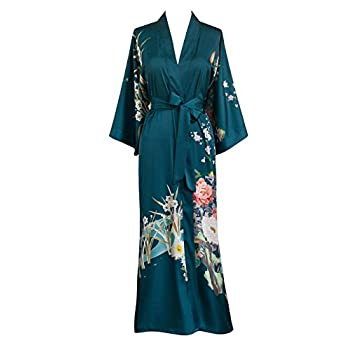 Old Shanghai Women's Kimono Robe Long - Watercolor Floral