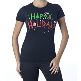 Happy Holidays (Hair) T-Shirt Black