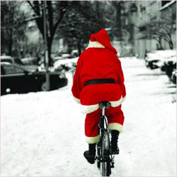 Pack of 10 WaterAid Charity Christmas Cards - Forgot the Brandy (Santa on Bike)