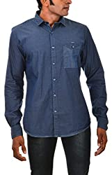 Indipulse Men's Casual Shirt (IF1151109DP, Blue, S)