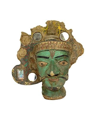 Uptown Down Vintage Oversize Hand-Painted Papier–Mâché Mask, Green