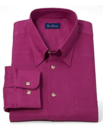 Paul Fredrick Men's 100% Linen Hidden Button Down Collar Sport Shirt Berry Large Tall