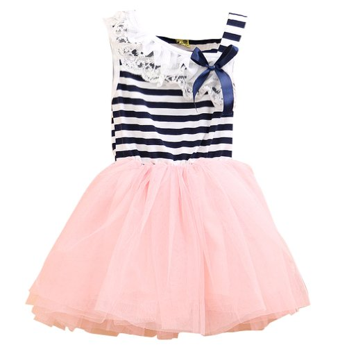 Little Hand Baby Girls' Lace Stripes Layered Mesh Tutu Patchwork Dress front-881787