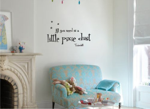 Newsee Decals All You Need Is A Little Pixie Dust. Tinkerbell Vinyl Wall Art Inspirational Quotes And Saying Home Decor Decal Sticker front-951434