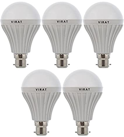 Virat 3W,5 W,7 W,9 W,12 W,15 W,8 W Microfiber LED Bulb (White, Pack of 7)