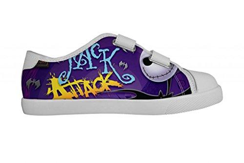 Gckg The Nightmare Before Christmas Girls Low Top Velcro Canvas Shoes Hook And Loop Sneakers (Little Kids/Big Kids) 2M Us