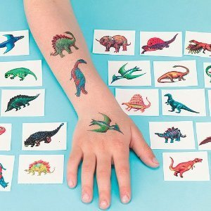 """Dinosaur Tattoos, pack of 18"""
