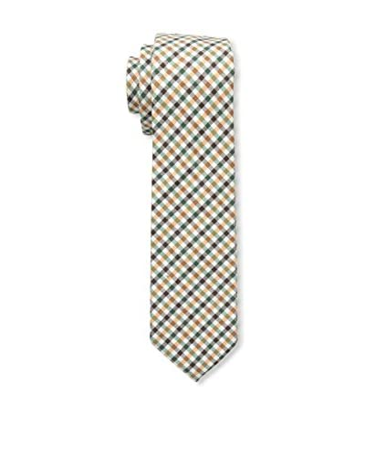 J. McLaughlin Men's Plaid Tie, Green/Off White/Brown
