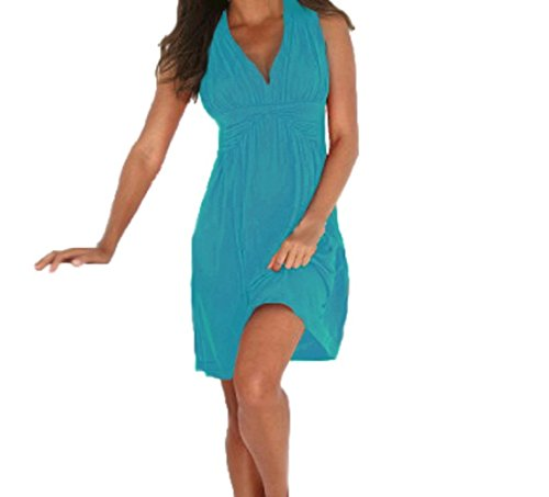 Women V Neck Summer Beach Dress Casual Holiday Party Sundress Cotton (light blue)