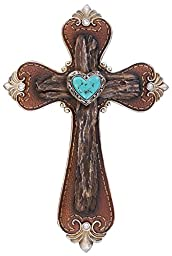 CROSS IN TOOLED LEATHER WITH STONES AND TURQUOISE HEART