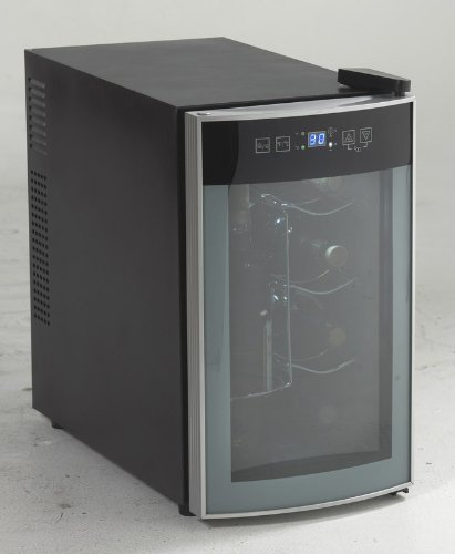 AVANTI 8 BOTTLE THERMOELECTRIC WINE COOLER - BLACK CABINET W/STAINLESS STEEL FRONT FINISH AND GLASS DOOR