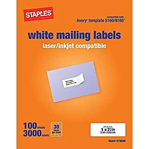 staples white mailing labels for laser printers 1 x inch box of 3000 labels avery