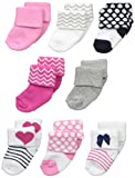 Luvable Friends Baby Girls' 8 Newborn Socks