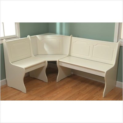 Outdoor Storage Nook Corner Bench In Antique White