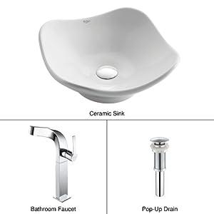 KRAUS C-KCV-135-15100CH Tulip Ceramic Sink and Typhon Faucet Chrome, White