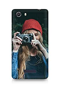 Amez designer printed 3d premium high quality back case cover for Micromax Unite 3 (Photo taking girl green cute)