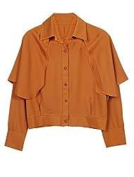 Women Fashion Point Collar Cape Design Crop Top